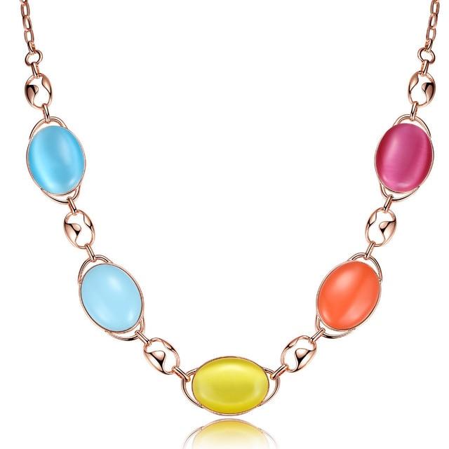 "Opal Necklace Colourful Long Collar Korean Exquisite Luxury Elegant Women Wedding Chain, 27.5"""
