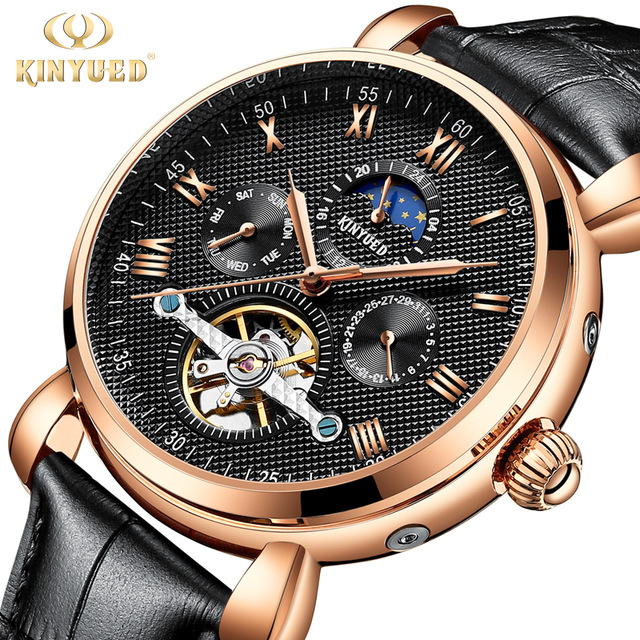KINYUED Luxury Brand Tourbillon Mechanical Watch Moon Phase Business Automatic Mens Watches Rose Gold Sprots erkek kol saati forsining full calendar tourbillon auto mechanical mens watches top brand luxury wrist watch men erkek kol saati montre homme