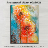 New Designed Superb Artist Handmade High Quality Abstract Dandelion Oil Painting For Wall Decoration Modern Flower Painting