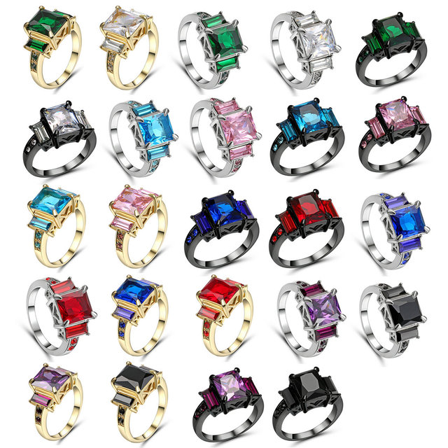 Gold Silver Color 8*10mm Mystic Rainbow Engagement Rings For Women AAA+ colorful
