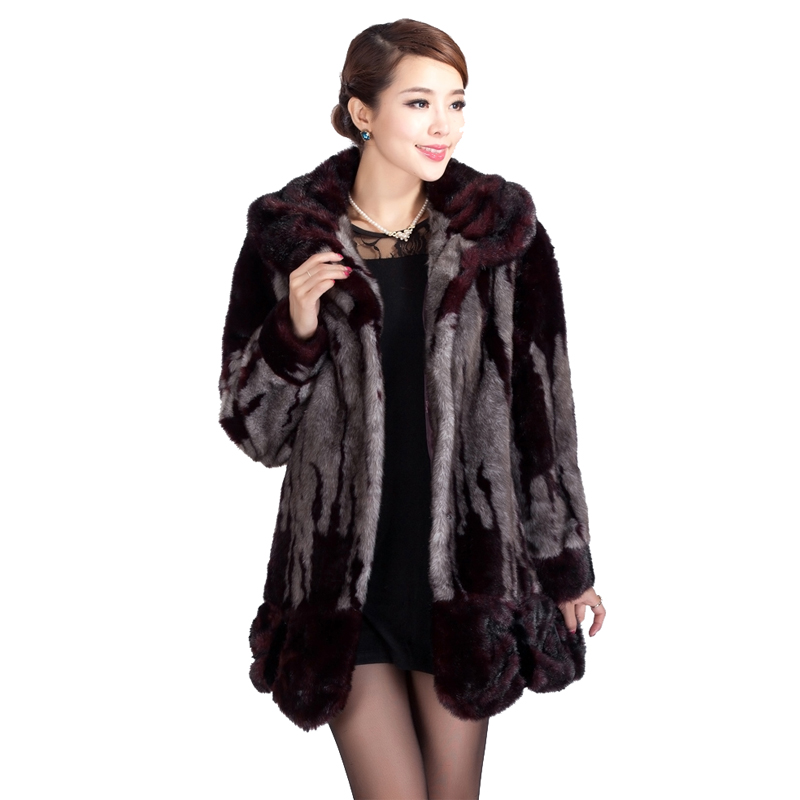 Winter high quality imitation mink thick marten velvet warm overcoat middle-age women faux fur coat plus size free shipping g882
