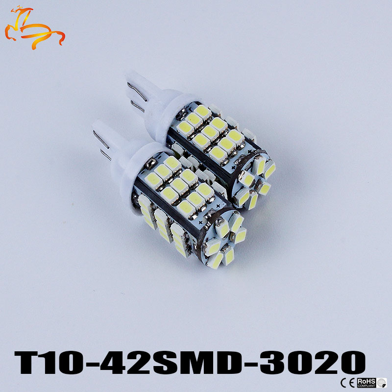 10pcs T10 1206 42 SMD Auto LED Lamps 42smd DC12V Car Side Wedge Marker Lights Turn Signals Bulb 194 927 161 168 W5W Wholesale t10 led lights w5w auto wedge license plate bulbs turn signal marker led lamps warm white 20smd 3020 1206 dome 12v 194 168 10pcs