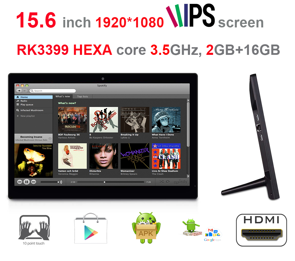 HEXA core 15.6 pollice all in one pc-smart chiosco-pos schermo (RK3399, 3.5 ghz, 2 gb ddr2, 16 gb NAND, android7.1 torrone, 2.4g + 5g wifi)