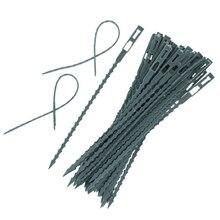 50 шт./лот, регулируемые пластиковые кабельные стяжки для растений, многоразовые кабельные стяжки для садового дерева, кабельные стяжки
