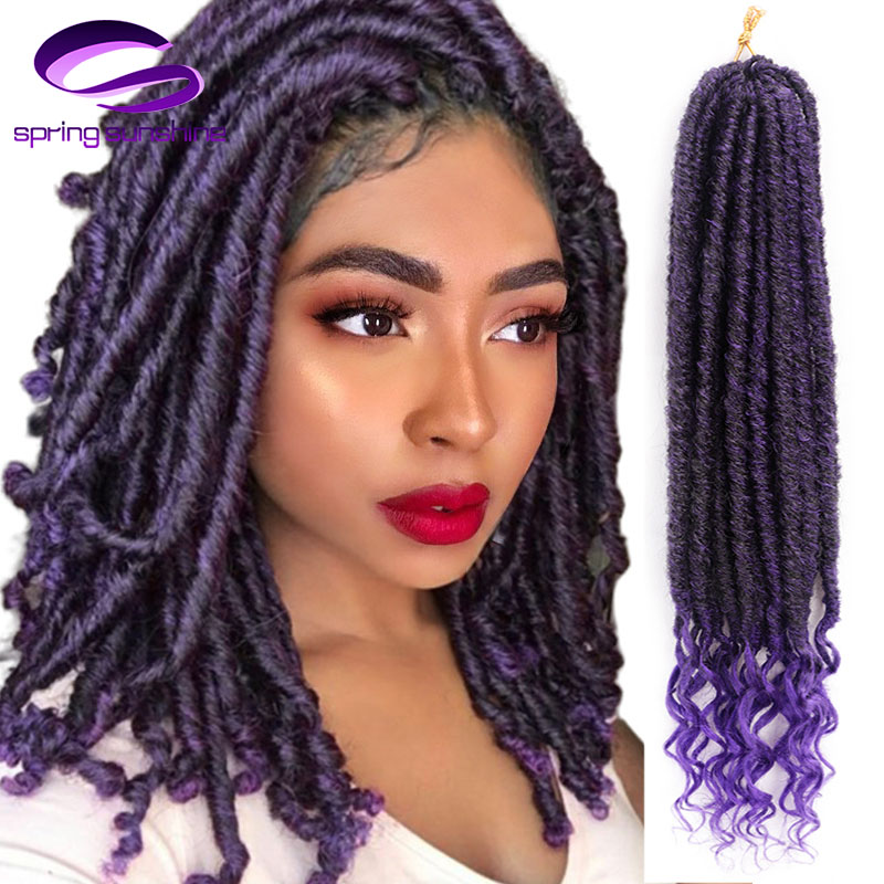 Spring Sunshine Synthetic 24Strands 16 Inch&20 Inch Goddess Faux Locs Ombre Grey Braid Hair Soft Pre Looped Crochet Braids