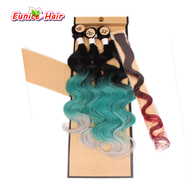 Brazilian naturl wave hair 4 bundles Cheap Synthetic body wave hair ombre color blue pink hair with closure rainbow hairpiece