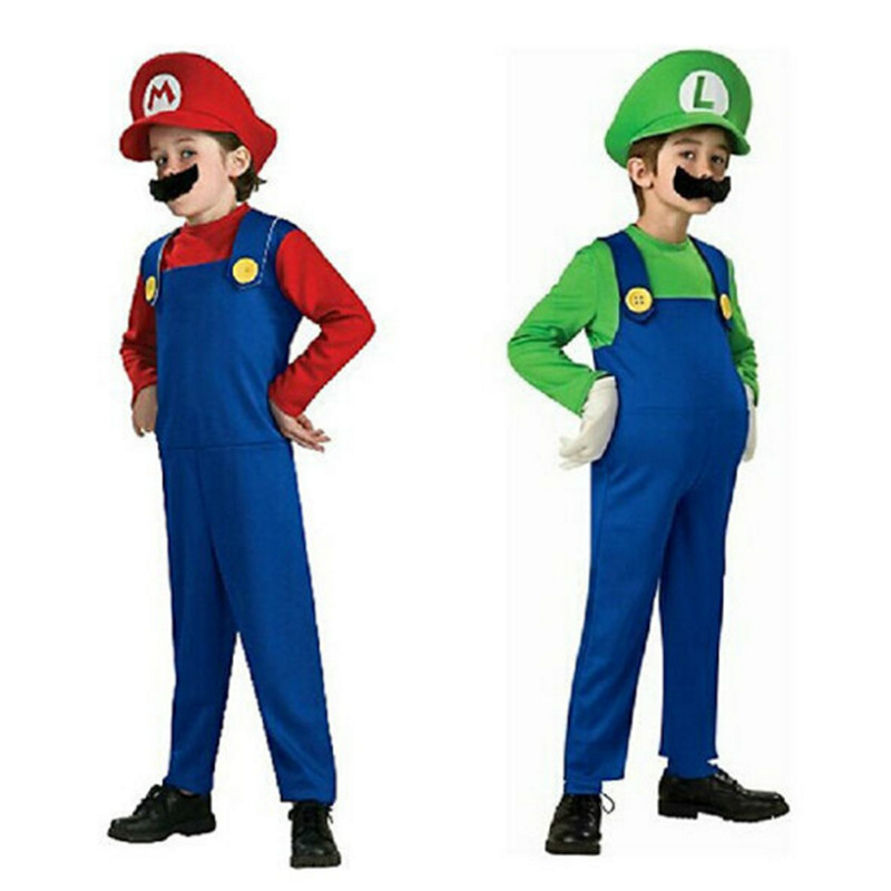 Children Funy Cosplay Super Mario Costumes Brothers  Luigi Bros. Plumber Fancy Dress Up Party Costume Cute Kids Adult Costume