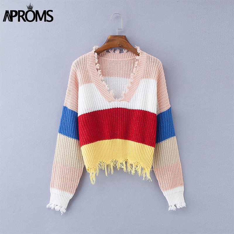 Aproms Multi Color Blocked Cropped Sweater Women Winter Deep V-neck Tassel Knitted Pullover Cool Girls Loose Jumpers Pull Femme