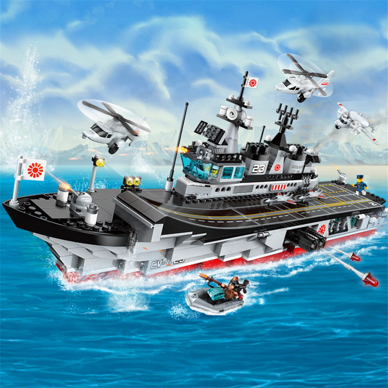 ENLIGHTEN 1723 Military Aircraft Carrier Helicopter Figure Blocks  Construction Building Brick Toys For ChildrenENLIGHTEN 1723 Military Aircraft Carrier Helicopter Figure Blocks  Construction Building Brick Toys For Children