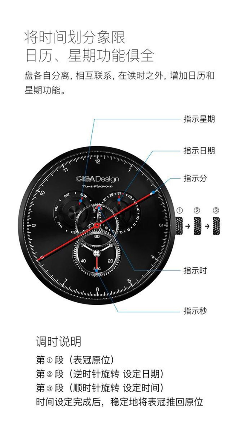 Original Xiaomi Ciga Watch Time Machine Three Gear Design Simple Quartz Watch One Pointer Design Adjustable Date Watch (7)