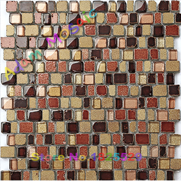Rustic Brown Vintage Tile Fireplace Wall Deco Sheet Red