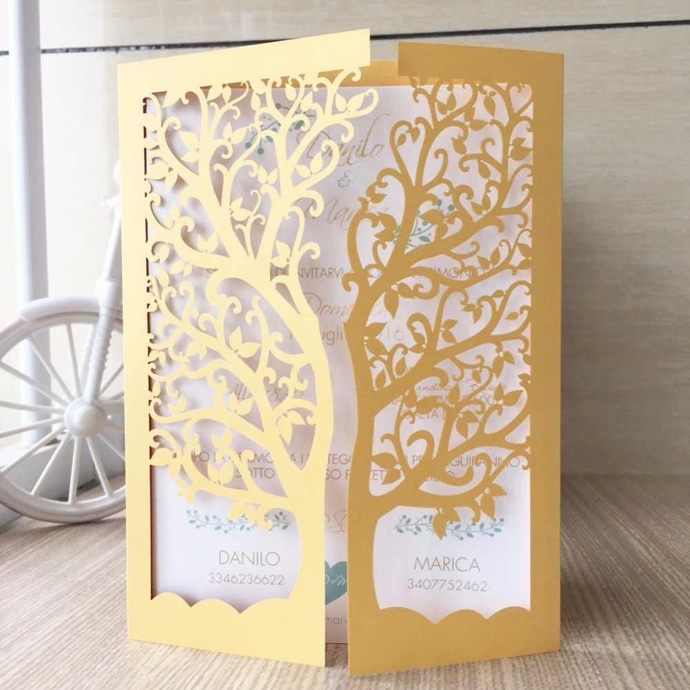 50pcs Lot Tiffany Blue 24colors Wedding Party Decoration Paper Craft Laser Cut Tree Wedding Invitation Card Greeting Card Qj 26