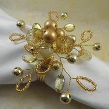 Акриловое вышитое бисером кольцо для свадебных салфеток держатель для салфеток с кристаллами декоративное кольцо