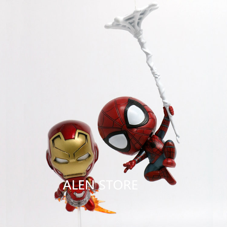 ALEN NEW hot 10cm 2pcs/set Avengers Spider-Man Homecoming iron Man Spiderman collectors action figure toys Christmas gift doll