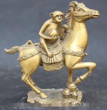 "7"" Chinese Feng Shui Bronze Auspicious Zodiac Year Animal Horse Monkey statue"