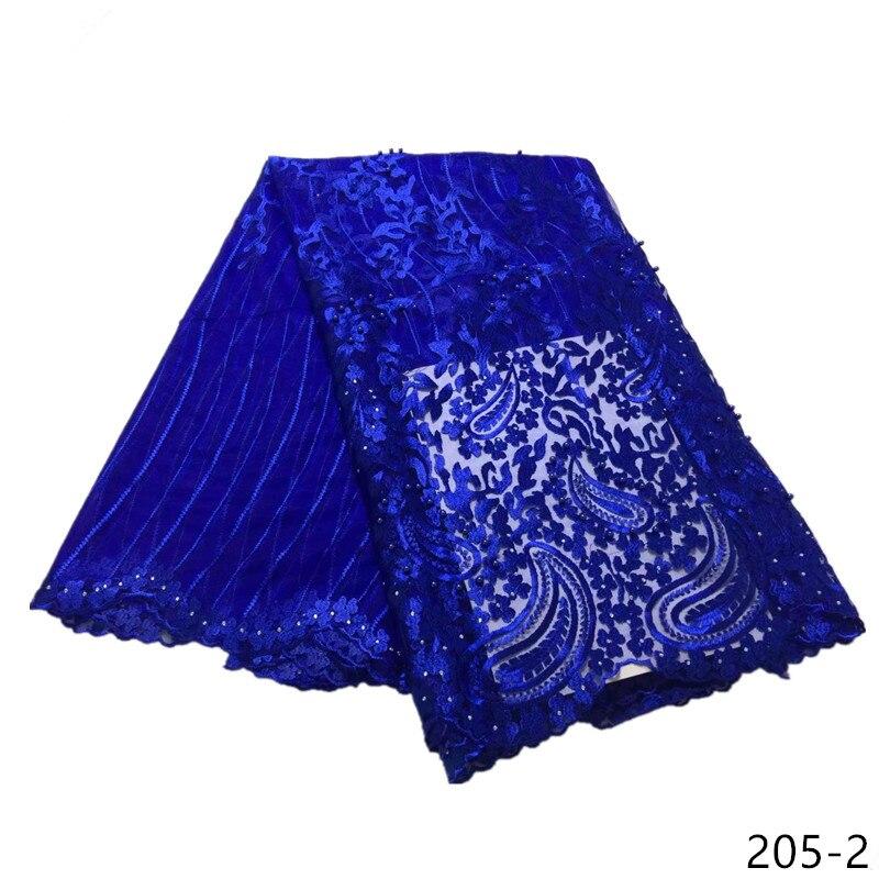 2019 plus récent français dentelle tissus bleu tulle dentelle broderie tissu avec perles/pierres dernier style africain dentelle 5 yards 205
