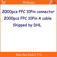 DHL shipping 2000 pcs FFC/FPC 0.5mm pitch 10 pin 30mm Isotropy Cable + 2000 pcs 0.5mm 10Pin Top contact socket connector