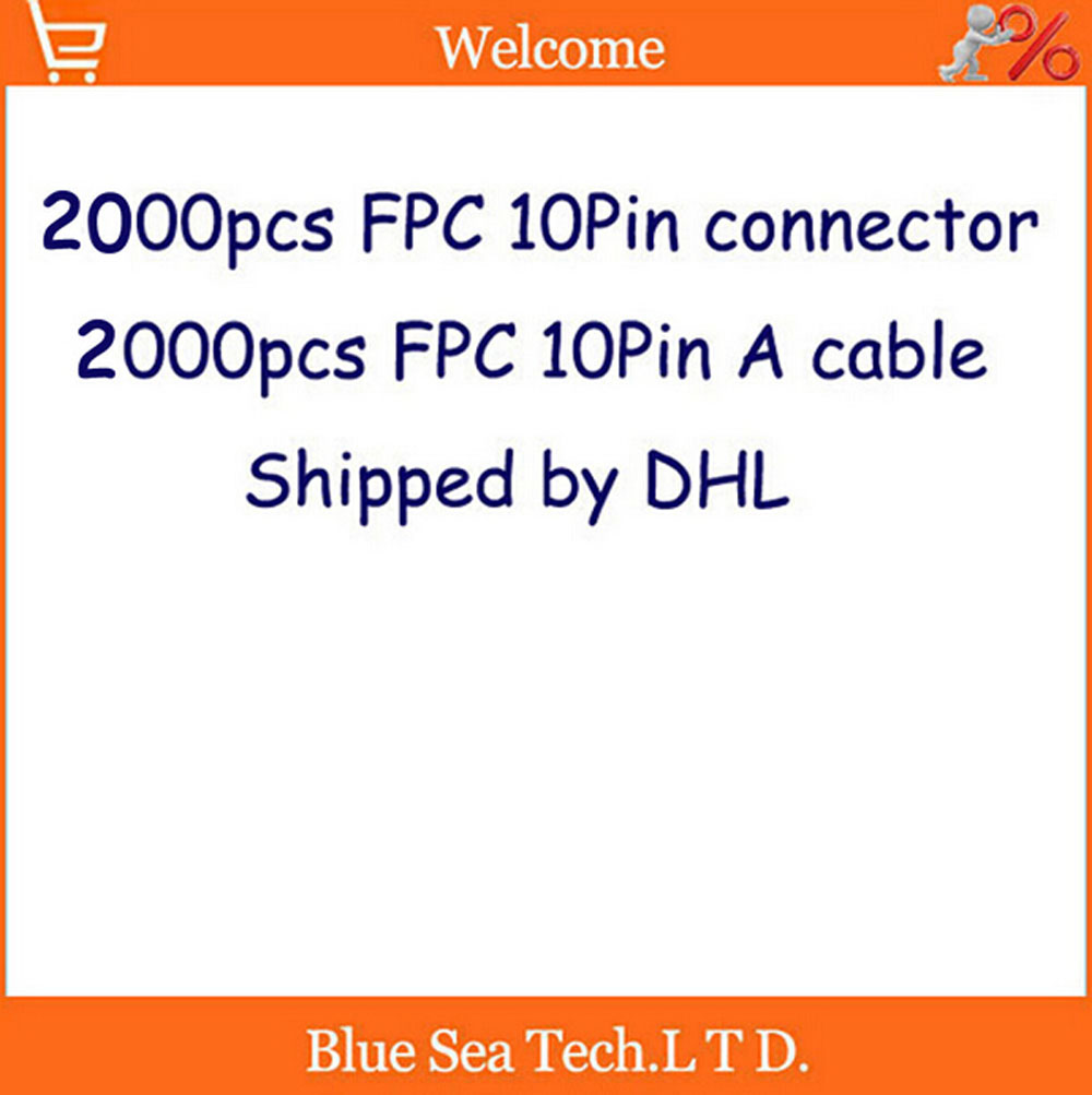 DHL shipping---2000 pcs FFC/FPC 0.5mm pitch 10 pin 30mm Isotropy Cable + 2000 pcs 0.5mm 10Pin Top contact socket connector wzsm new ffc fpc connector 0 5mm pitch 30pin 30 pin ffc fpc connector socket cross pin free shipping