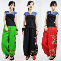 Chinese Traditional stage trousers Large size women casual pants folk style Flowers embroidered cotton Linen wide leg trousers