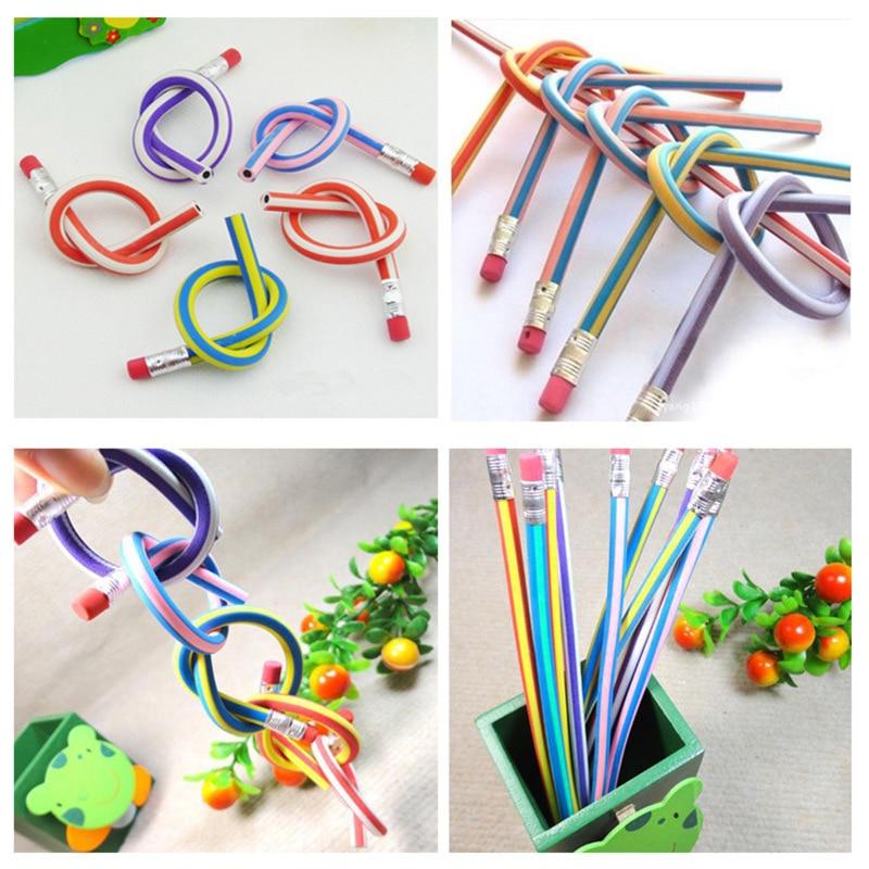 6 stks Korea Leuke Briefpapier Kleurrijke Magic Bendy Flexibele Zachte Potlood met Gum Student School Office Gebruik