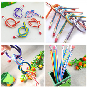 6pcs Korea Cute Stationery Colorful Magic Bendy Flexible Soft Pencil with Eraser Student School Office Use