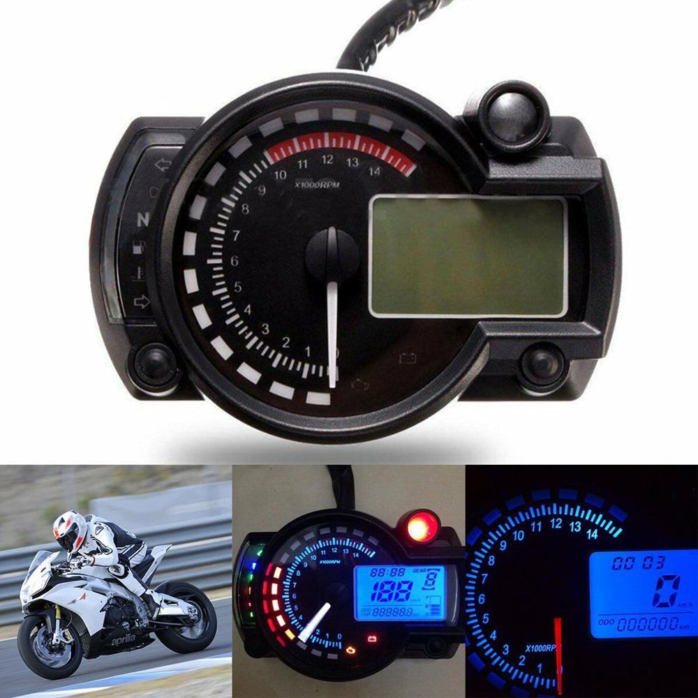 Motorcycle Digital Speedometer 12V Multifunction LCD Meter Universal Modified 7 Color Display Tachometer Odometer