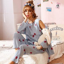 Купить с кэшбэком Pregnant women cotton pajamas postpartum out home nursing maternal lactation breastfeeding clothing suits spring sleepwear