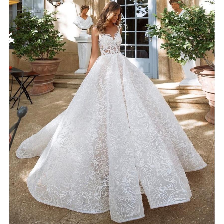 New Design Amanda Novias robe mariage Unique Lace Ball Gown Wedding Dress 2019