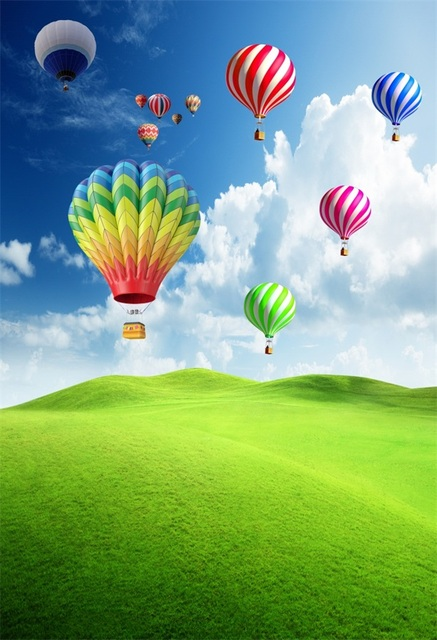 4b34812ff3 Laeacco Colorful Hot Air Balloons Cloudy Sky Grassland Photography  Backgrounds Vinyl Custom Camera Backdrops For Photo Studio