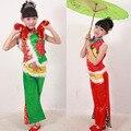 Зеленый детские Традиционный древний Китайский Народный Танец Костюмы Дети Вентилятор Танцевальные Костюмы танец одежды наряды