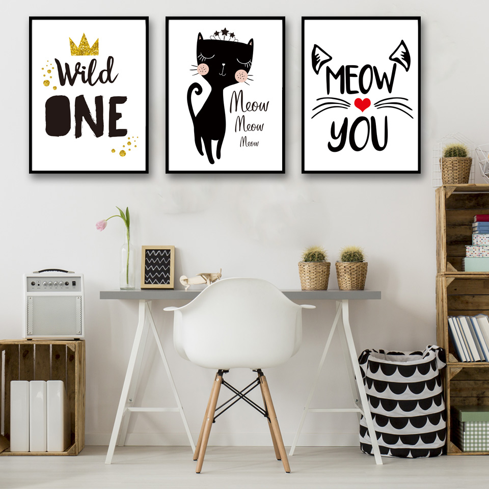Nordic Meow And Black Cat Poster Print Canvas Painting Wall Art Black And White Style Pictures Girl Room Decor No Framed 1