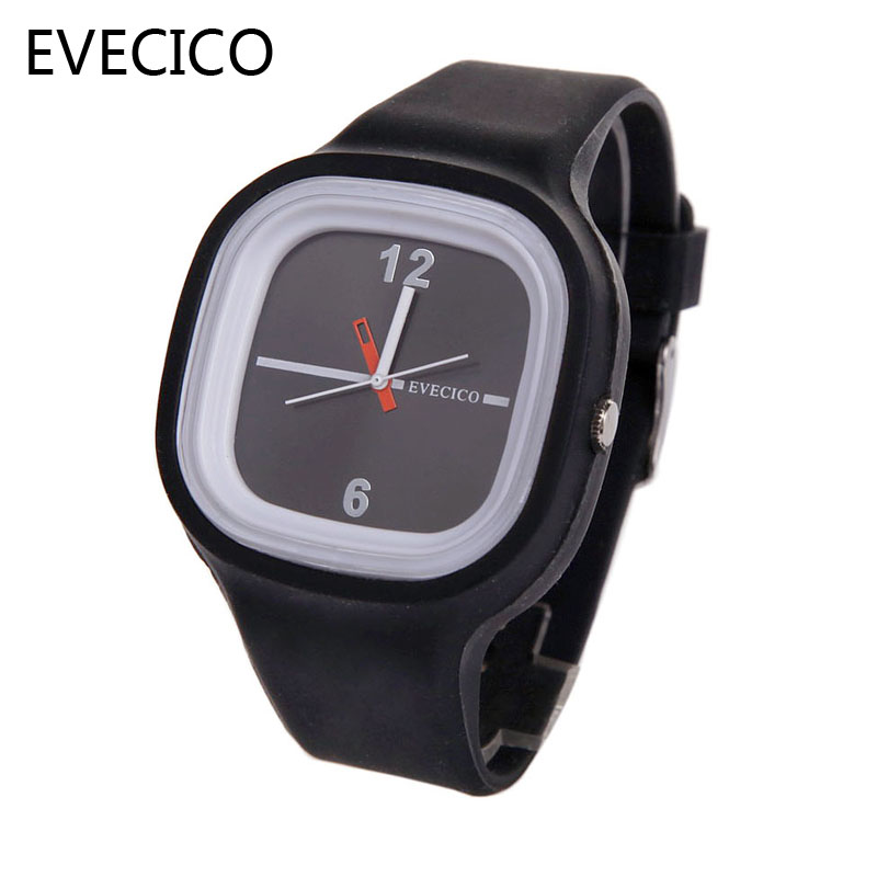 ФОТО EVECICO male and female students jelly couple silica quartz watch fashion expression contracted pointer watch fashion