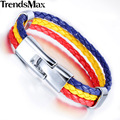 Trendsmax Romania National Flags Sports Surfer 3 Strands Rope Braided Man-made Leather Mens Friendship Bracelets LB282