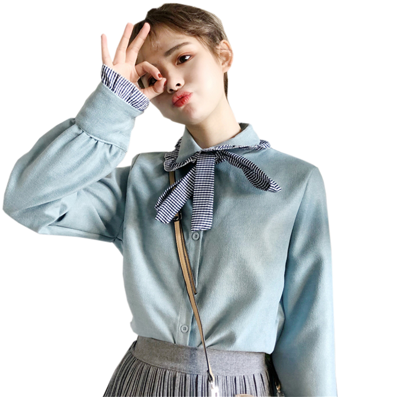 Fashion Striped Bow Patckowrk Shirts Women Long Sleeve Ruffles Bloues Tops 2018 Spring Autumn Loose Casual Female Blouses FP0396 ...