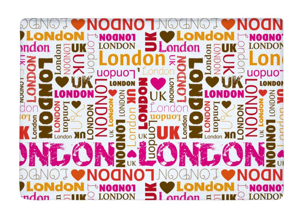 Floor Mat Pink Fashion Love London repeat Typography Print Non slip Rugs Carpets alfombra For font
