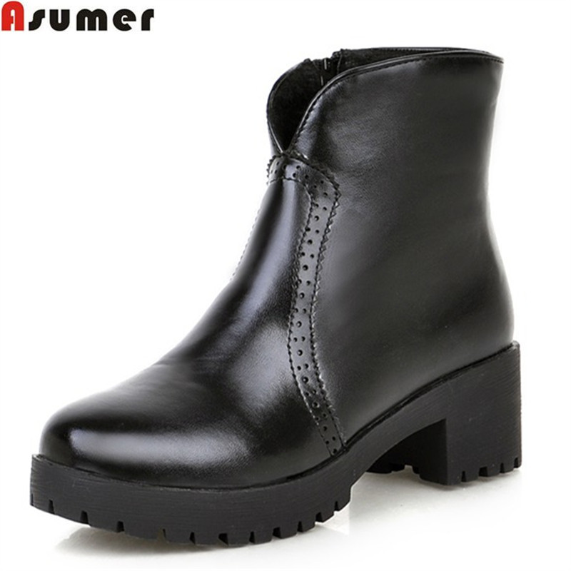 Asumer 2018 hot sale new arrive women boots fashion zipper solid color ladies boots simple comfortable ankle boots asumer 2018 hot sale new arrive women boots fashion zipper black genuine leather pointed toe ladies boots simple mid calf boots