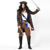 Men Pirate Costume Halloween Carnival Buccaneer Captain Uniforms Party Fancy Dress 9 Pieces Adult Male Pirate Cosplay Clothing