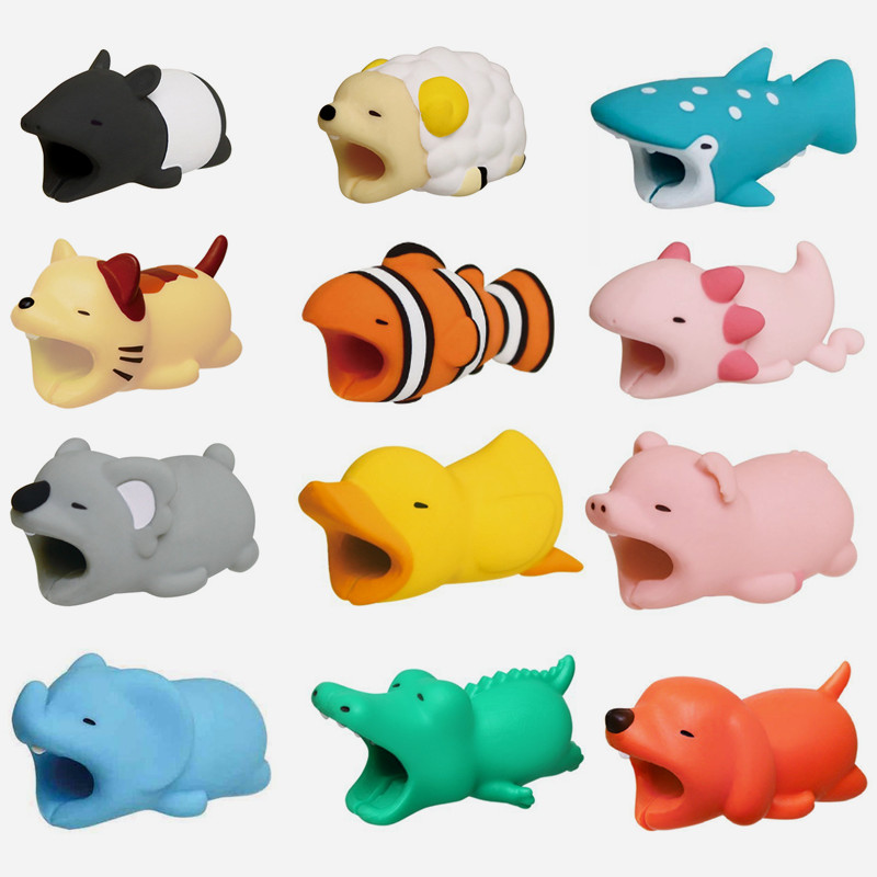 Creative Cute Animal Cable Bite Protector Winder Iphone Holder Accessory Cartoon Animals Bite Dog Cat Doll Model Funny Gift Toys цена 2017