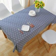 Manteles Estilo Japonés Microondas Comedor Mantel De Lino Azul Impreso Grandes Manteles Raya Toalha de mesa Tablo