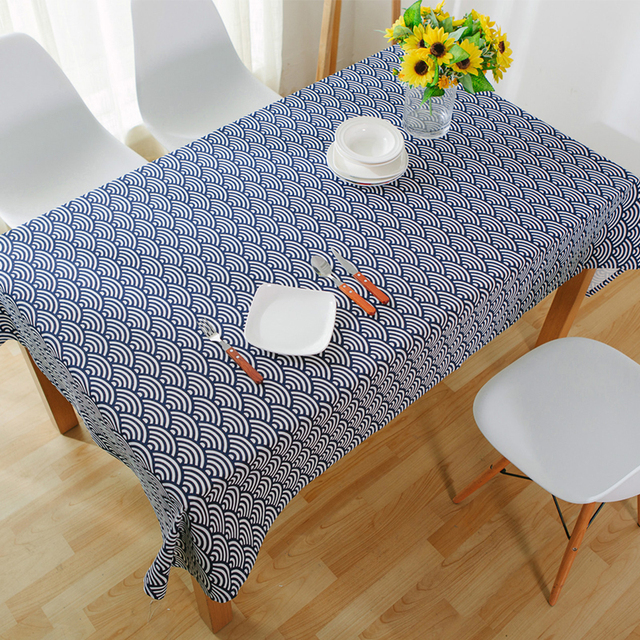 Tablecloths Japanese Style Linen Tablecloth Blue Dinette Printed Large Table  Cloths Stripe Microwave Toalha De Mesa