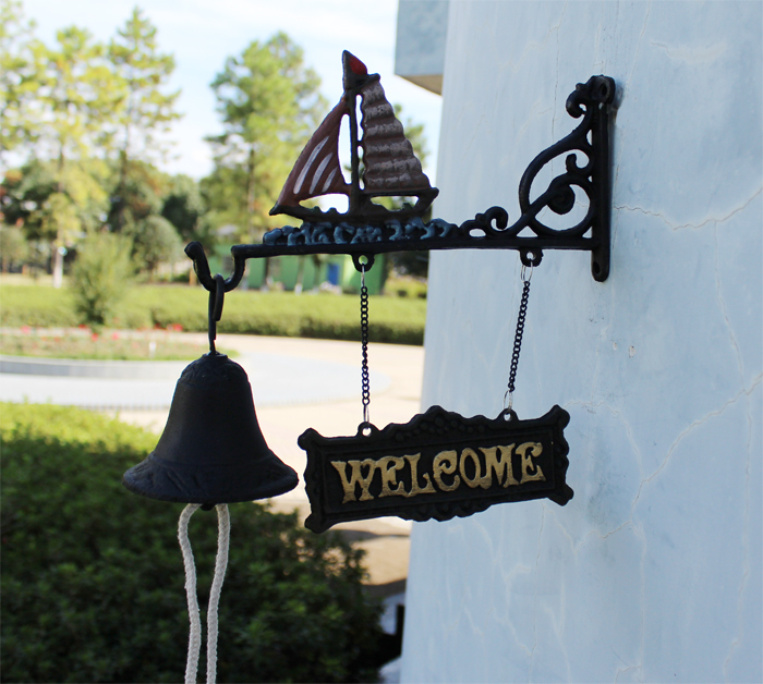 Cast Iron Bell Sail Boat Nautical Ship Sea Sailboat Porch Rustic Wrought Paint Wall or Post Mounted Seaman Dinner Free Shipping