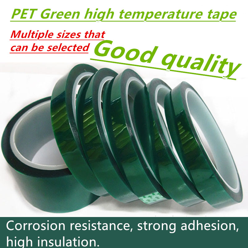 Hot 35mm-70mm Heat-resistant PET High Temperature Green Masking Shielding Tape for PCB Solder Plating Insulation Protection