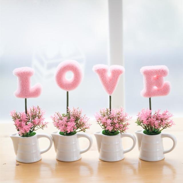 1 Set! Romantic LOVE Pattern Artificial Plants Bonsai Simulation Flowers  Decoration For Living Room Windowsill