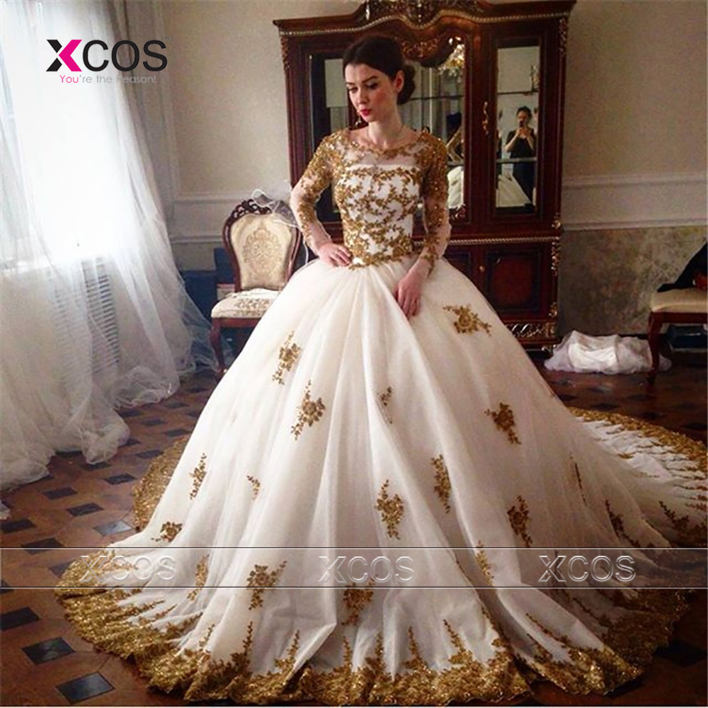 Ball Gown Wedding Dresses With Train : Train gold lace ball gown wedding dresses appliques bridal gowns