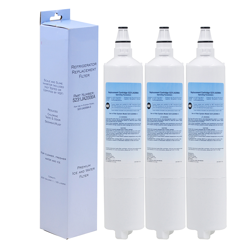 High Quality Household Water Purifier Refrigerator Water Filter Replacement for LG LT600P 5231JA2005A 5231JA2006 3 Pcs