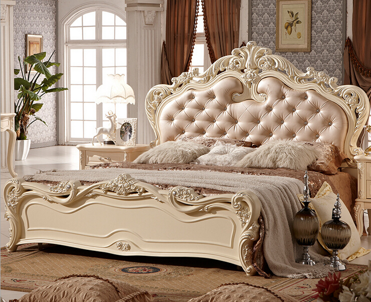 Double Bed Design Luxury Home Used King Size Soft Bed 0409
