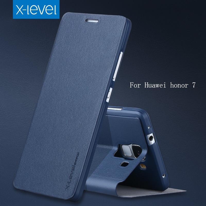 imágenes para Para Huawei Honor Caso 7 Caja Del Teléfono de LA PU cubierta de Cuero de Lujo Para Huawei Original Honor7