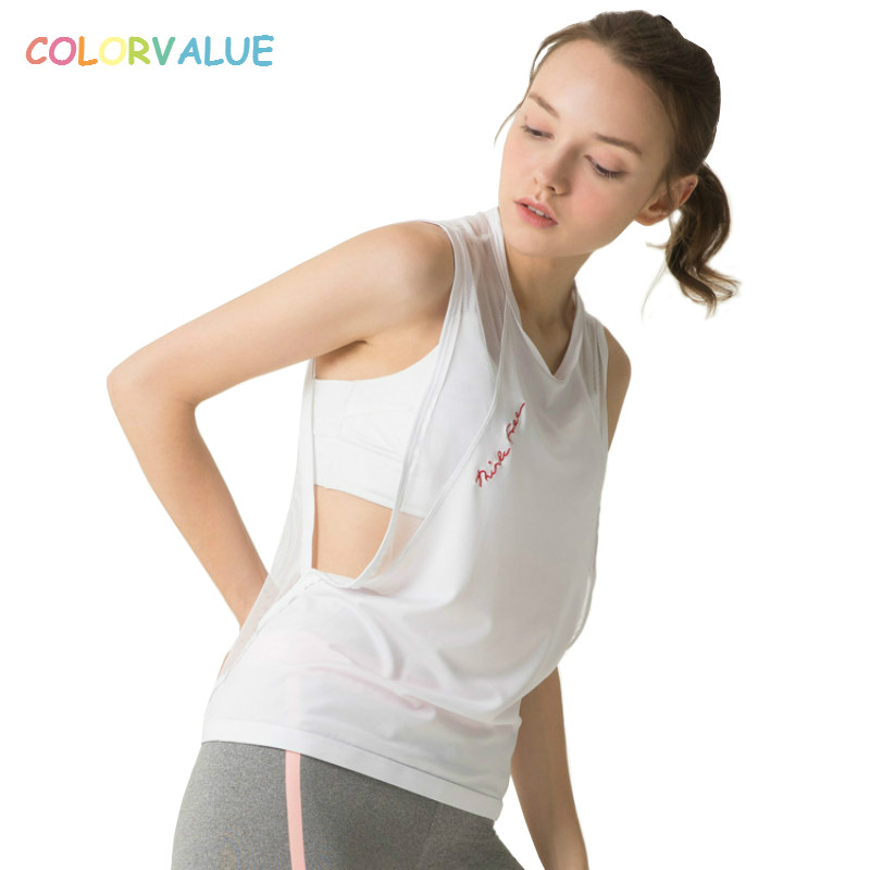 Colorvalue Ademend Losse Workout Running Vest Vrouwen Terug Mesh Sport Fitness Tank Tops O-hals Yoga Gym Top Mouwloze Shirts