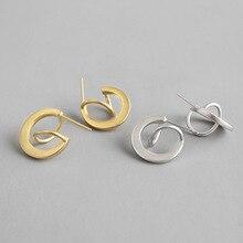 HFYK 925 Sterling Silver Earrings 2019 Gold Geometric Stud Earrings For Women Silver Jewelry pendientes plata de ley 925 mujer real 925 sterling silver stud earrings for women girls sterling silver jewelry brincos oorbellen aros de plata 925