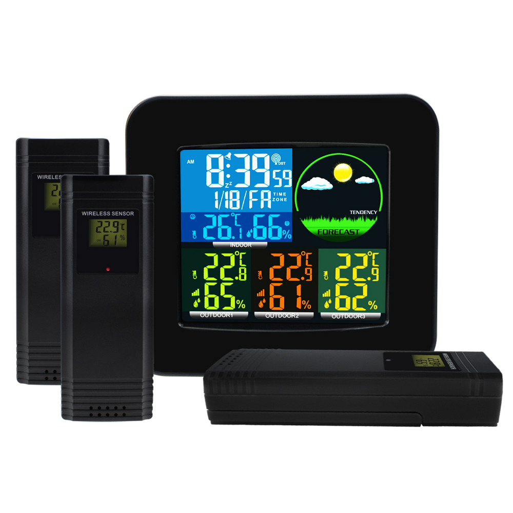 WEA-47 RCC DCF MSF Weather Station with 3 Wireless Sensor Alarm Clock 6 Weather Forecast LCD Colored Display Temperature Meter